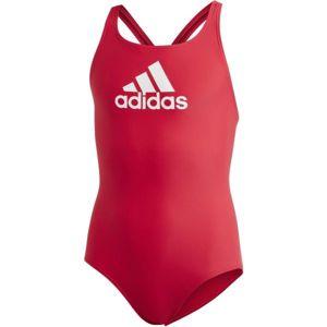 adidas BADGE OF SPORTS SWIMSUIT GIRLS červená 140 - Dívčí plavky