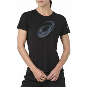 Asics SILVER SS TOP GRAPHIC černá L - Dámské běžecké triko