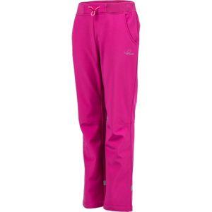 Lewro CARNO růžová 140-146 - Dětské softshellové kalhoty