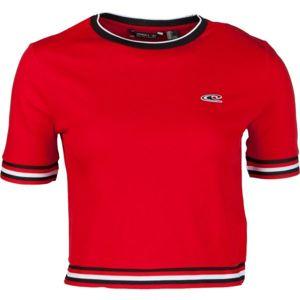 O'Neill LW SPORT STRIPE RIB TEE červená S - Dámské tričko