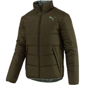 Puma ESS PADDED JACKET tmavě zelená M - Pánská bunda