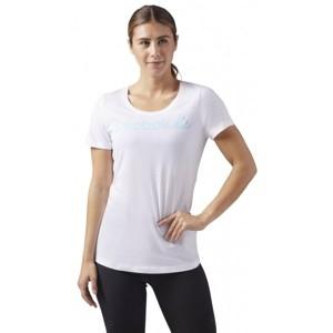 Reebok REEBOK LINEAR READ SCOOP NECK bílá S - Dámské sportovní tričko