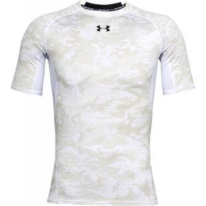 Under Armour ARMOUR HG PRINT SS bílá M - Pánské kompresní triko